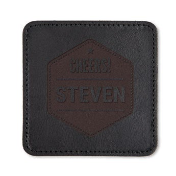 Leather coasters - Black - 6 pieces