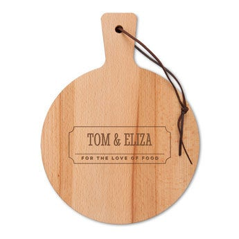 Drevený servírovací tanier - bukové drevo - okrúhle (S)