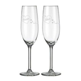 Champagne fløjter - Valentinsdag (sæt af 2)