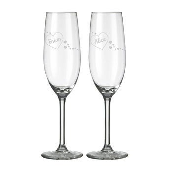 Champagne flutes – Valentine's Day (set of 2)