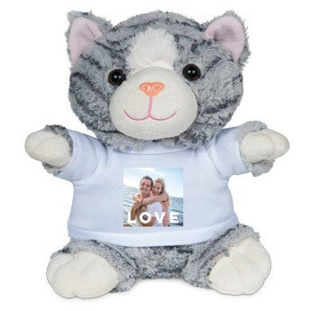Personalised cuddly toy with photo - Cat