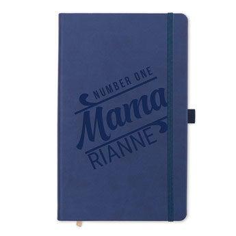 Moederdag notitieboek met naam - Blauw