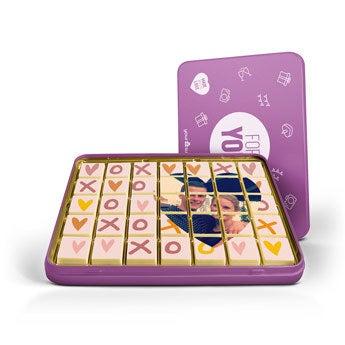 Cartão de chocolate sem recheio - 24 - Caixa de metal