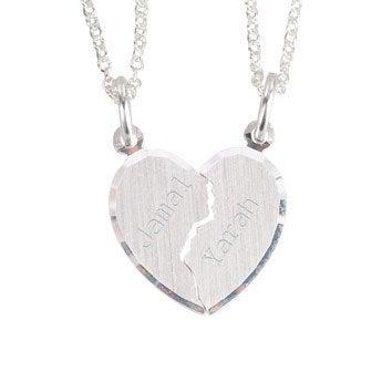 Graverad silverberlock - Delat hjärta