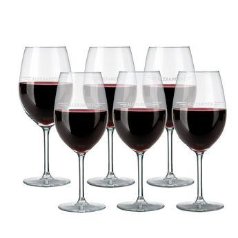Copas de vino tinto grabadas - Set de 6
