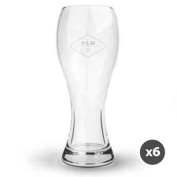 Weizenbierglas mit Gravur (6 Stück)