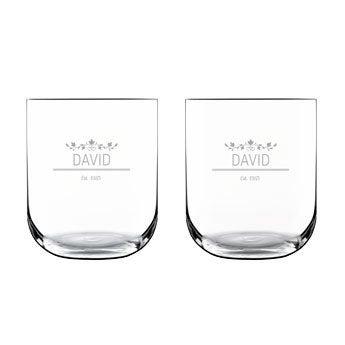 Vasos de agua de lujo - Grabado - 2 piezas