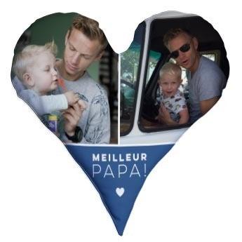 Coussin Fête des Pères - Coeur avec photo