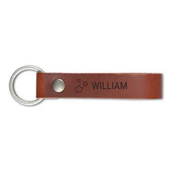 Luxury engraved leather keyring - Brown