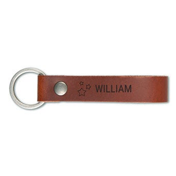 Luxury engraved leather keyring - Brown