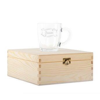 Caixa de chá de madeira com vidro gravado