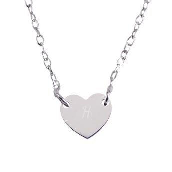 Colar inicial de prata - Coração