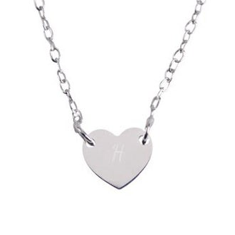 Silver initial necklace - Heart