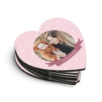 Coasters em forma de coração (8 peças)