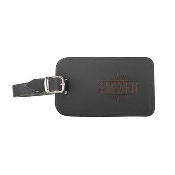 Etiqueta de equipaje de cuero - Negro