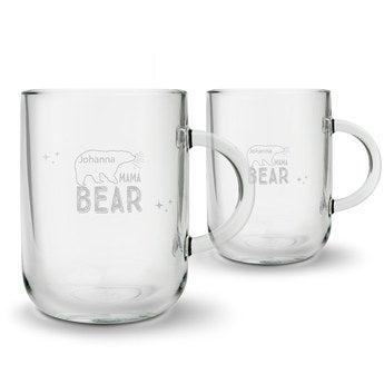 Theglas med gravyr - Morsdag - rund - 2 st