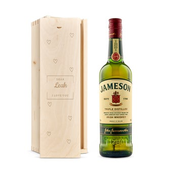 Jameson whisky in engraved case