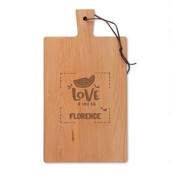 Dřevěný servírovací talíř - Bukové dřevo - Obdélníkový - Portrét (M)