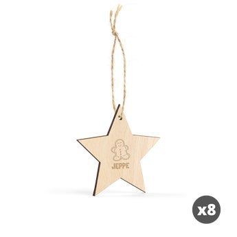Indgraveret julepynt i træ – stjerne – 8 stk.