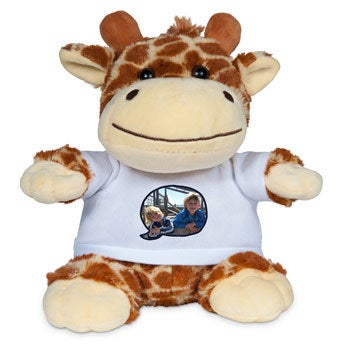 Personalised cuddly toy with photo - Giraffe