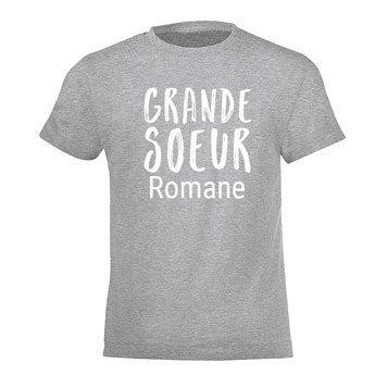 T- shirt Famille - Fille/ Fils - Gris - 4 ans