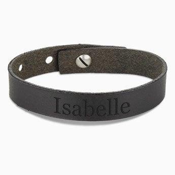 Mulheres pulseira de couro - preto