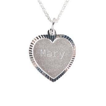 Engraved silver pendant - Heart deco