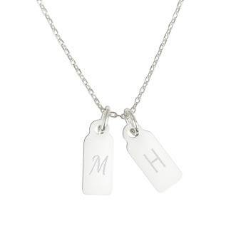 Colar inicial em prata gravada - 2 pingentes