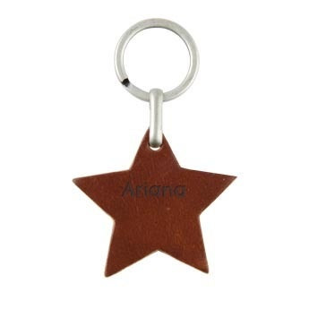 Bőr kulcstartó - csillag (barna)