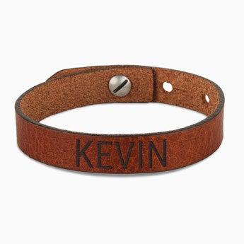 Bracelet prénom homme - cuir marron