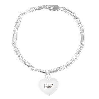 Bracelet gravé argent - Charm coeur