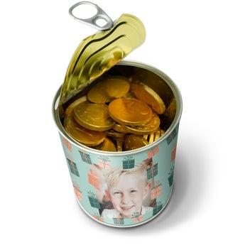 Puszka ze słodyczami - czekoladowe monety