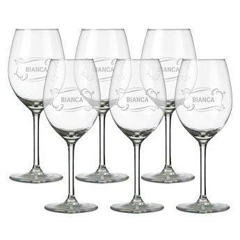 Weißweinglas mit Gravur (6 Stück)