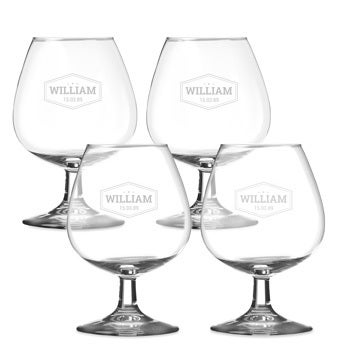 Personalised brandy glass (4 pieces)