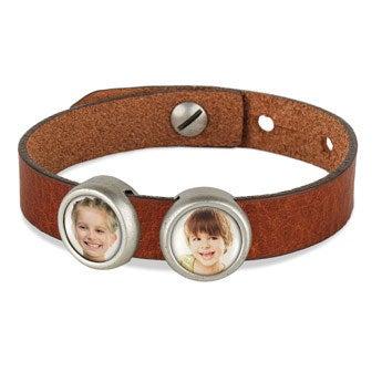 Photo charm bracelet - Brown - 2 photos