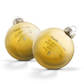Boule de Noël en verre - Or (2 pièces)