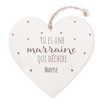 Cœur en bois - Marraine