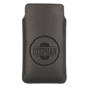 Housse portable cuir - M  - Noir
