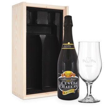 Conjunto de oferta de cerveja com vidro gravado - Cuveé du Chateau