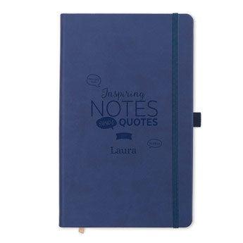 Notebook med navn - Blå