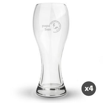 Weizenbierglas mit Gravur (4 Stück)