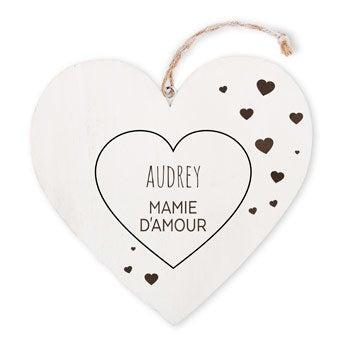 Coeur pour mamie - En bois