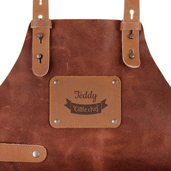 Leather Children's Apron with Name - Mini - Brown