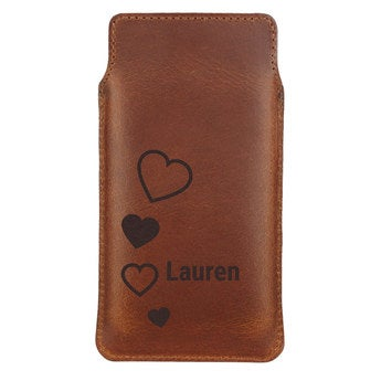 Leather phone case - M - Brown
