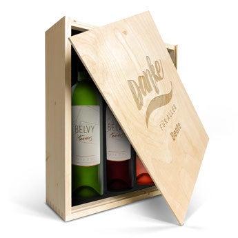 Belvy Weiß, Rot & Rosé- Weinkiste mit Gravur