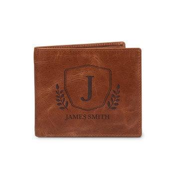 Graverad läderplånbok
