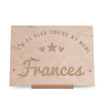 Cartão do dia das mães de madeira - gravado - horizontal