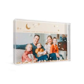 Personlig snekugle – rektangel – konfetti