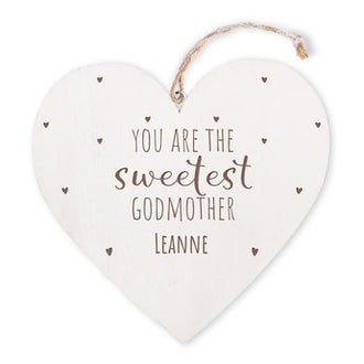 Personalised wooden heart - Godmother