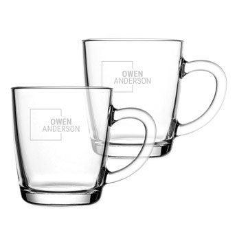 Theglas med gravyr - 2 stycken
